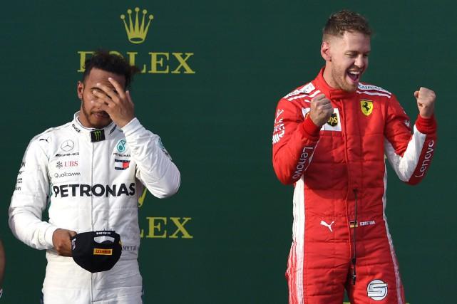 Lewis Hamilton et Sebastian Vettel... (Photo William West, Agence France-Presse)