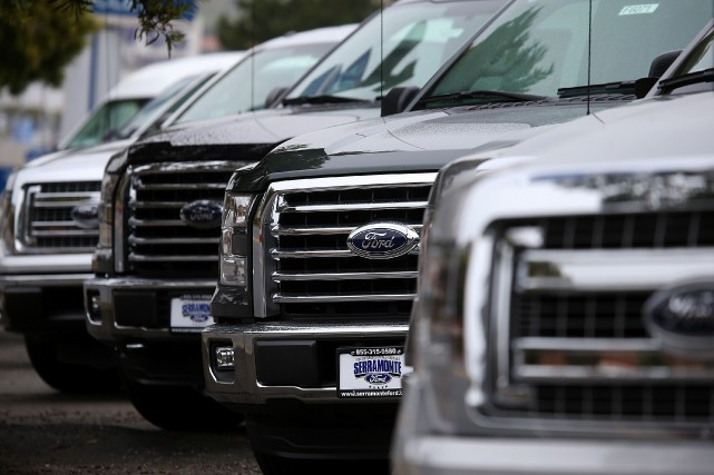 Des pickups Ford F-150.... (photo AFP)
