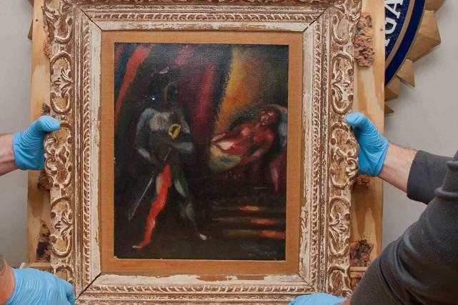 Une huile sur toile réalisée par Marc Chagall en 1911 à Paris et volée il y a... (Photo AP)