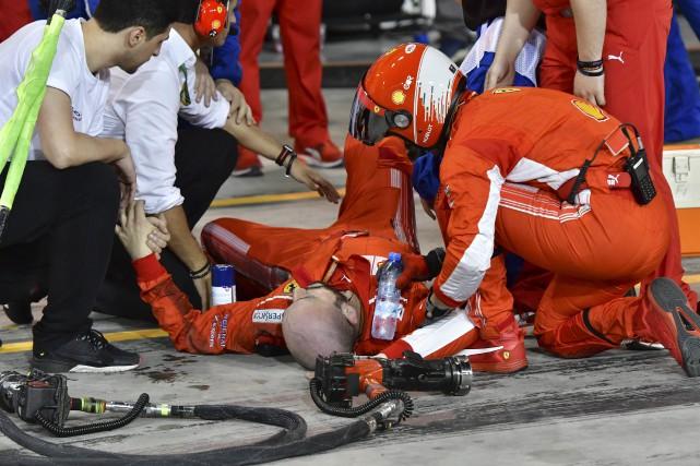 Le mécanicien s'est fait casser la jambe.... (photo AP)