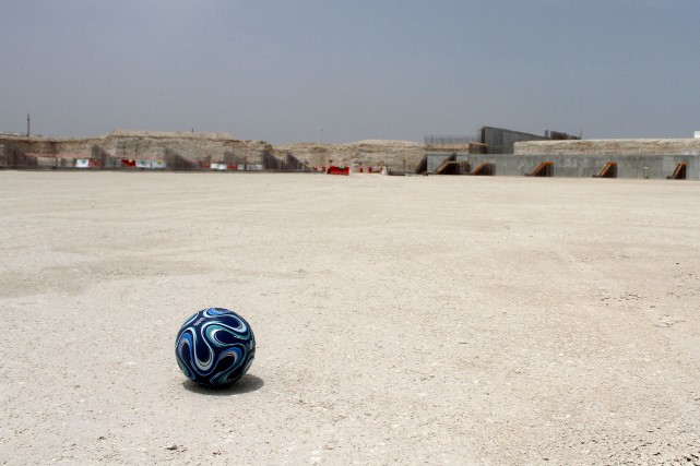 Le chantier de construction du stade Al Wakrah.... (REUTERS)