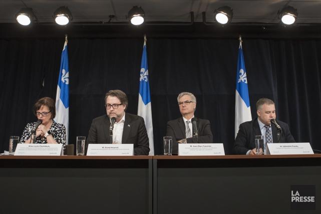 Les ministres Lucie Charlebois, David Heurtel, Jean-Marc Fournier... (Photo Ivanoh Demers, La Presse)