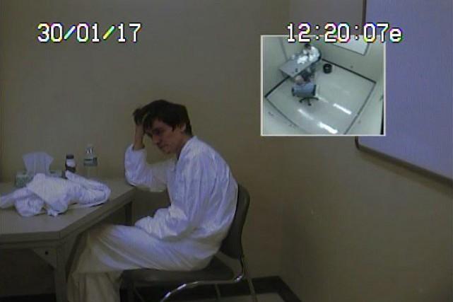 Alexandre Bissonnette lors de son interrogatoire au lendemain... (Photo fournie par la Sûreté du Québec)