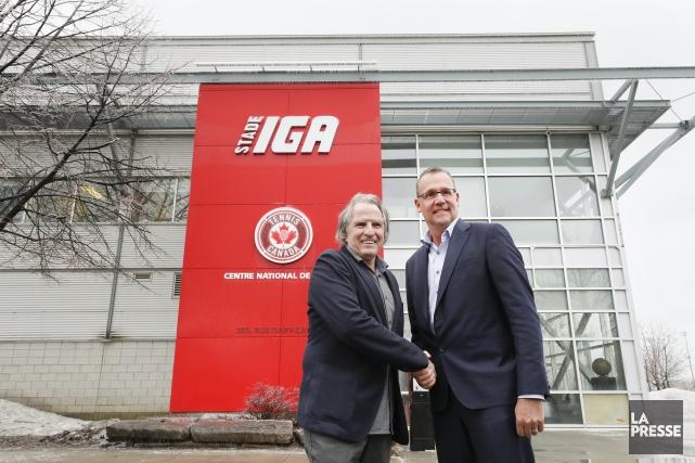 Eugène Lapierre, vice-président principal de Tennis Canada,et Pierre... (Photo Robert Skinner, La Presse)