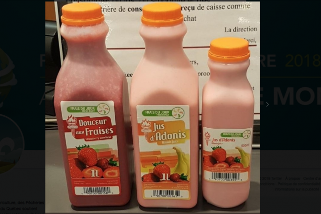 Des jus, des cocktails et des smoothies à base de fraises vendus chez Adonis ne... (Photo fournie par le MAPAQ)