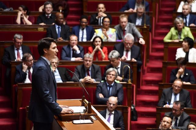 Justin Trudeau lors de son discours àl'Assemblée nationale... (GERARD JULIEN, AFP)