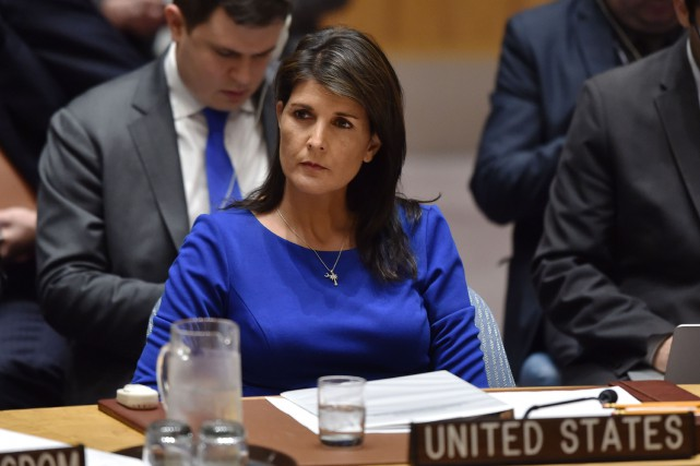 L'ambassadrice américaine à l'ONU, Nikki Haley.... (PHOTO AFP)