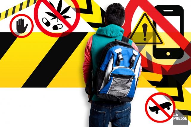 Couvre feu, temps d'écran, consommation d'alcool et de drogues, habillement...... (Photomontage La Presse)