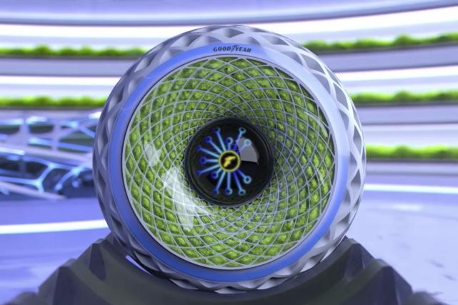 Le pneu à photosynthèse Oxygène de Goodyear propose... (Photo Goodyear)
