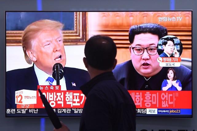 Donald Trump et Kim Jong-un... (Photo Jung Yeon-je, Agence France-Presse)