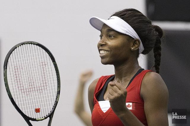 La joueuse de tennis Françoise Abanda, lors d'un... (Robert Skinner, archives La Presse)