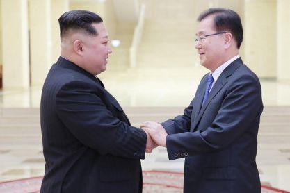 Kim Jong-un a accueilli le président de la... (Photo archives Agence France-Presse)