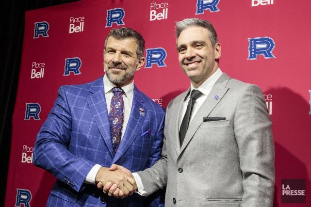 Le directeur général du Canadien, Marc Bergevin, et... (Photo Hugo-Sébastien Aubert, La Presse)
