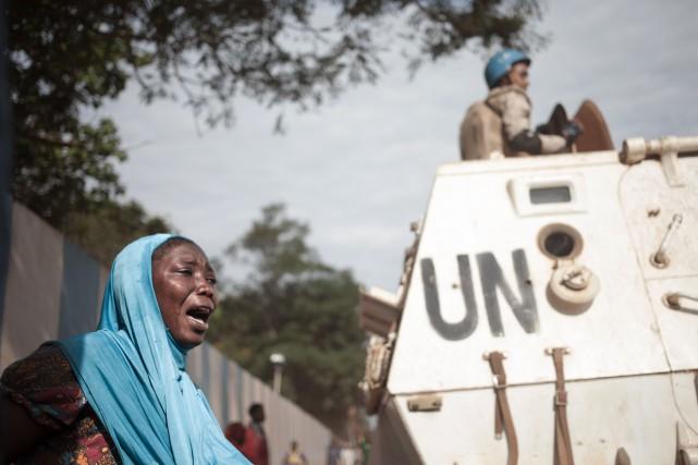Jeudi matin, un Casque bleu mauritanien a été... (Photo FLORENT VERGNES, archives Agence France-Presse)