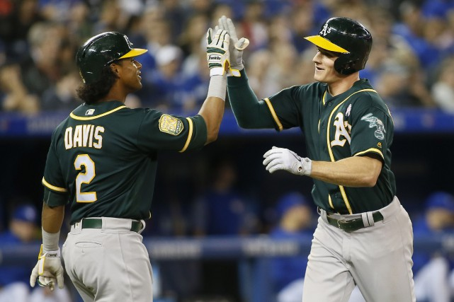 Khris Davis (2) et Matt Chapman (26) des... (Photo John E. Sokolowski, USA TODAY Sports)