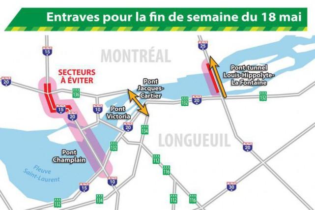 Les traversées entre Montréal et la Rive-Sud pourraient être compliquées durant... (Image tirée du site du ministère des Transports)
