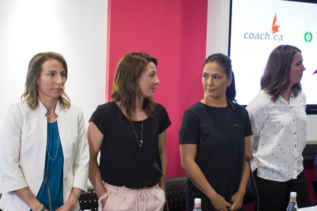 Amélie-Frédérique Gagnon, Gail Kelly, Anna Prchal et Geneviève... (Photo Olivier Pontbriand, La Presse)
