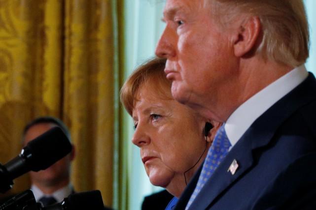 Anegla Merkel et Donald Trump à la Maison-Blanche,... (REUTERS)