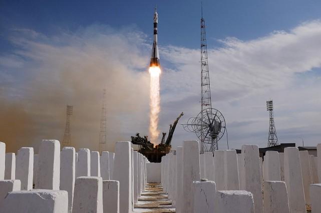 Le lancement de la fuséeMS-09 a été effectué... (Vyacheslav OSELEDKO, AFP)