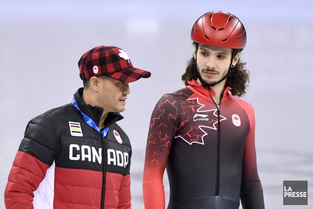 L'entraîneur Derrick Campbell avec Samuel Girard aux Jeux... (Photo Bernard Brault, archives La Presse)