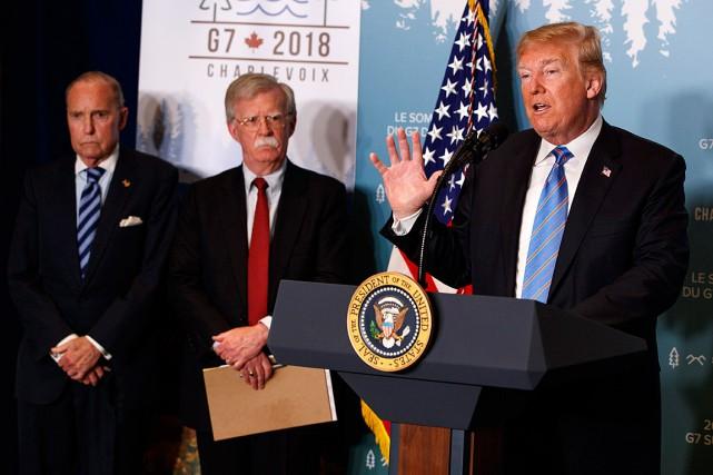 Donald Trump a donné une conférence de presse... (PHOTO EVAN VUCCI, ASSOCIATED PRESS)