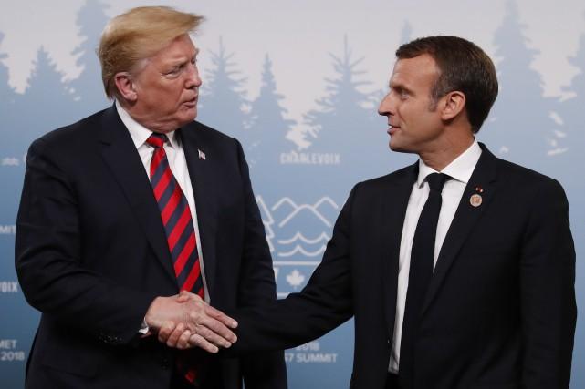 Donald Trump et Emmanuel Macron.... (Photo Leah Millis, REUTERS)