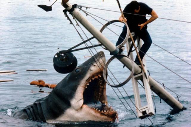 Roy Scheider et le requin dans Jaws... (Photo tirée d'IMDb)