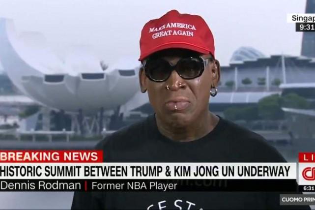 Dennis Rodman n'a pu retenir ses larmes lors... (CAPTURE D'ÉCRAN)