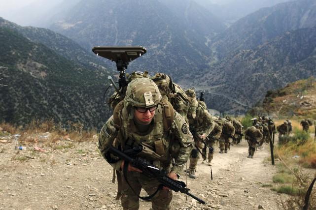 Des soldats américains en 2011 patrouillant laprovince de... (ARCHIVES REUTERS)