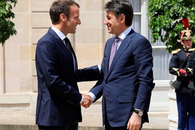 Le président français Emmanuel Macronet le chef du... (PHOTO LUDOVIC MARIN, AGENCE FRANCE-PRESSE)