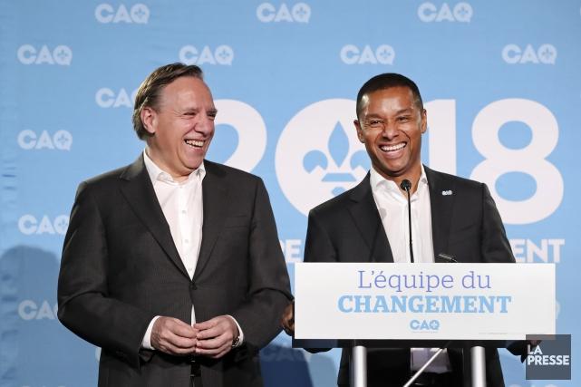 François Legault et Lionel Carmant.... (Photo Robert Skinner, La Presse)