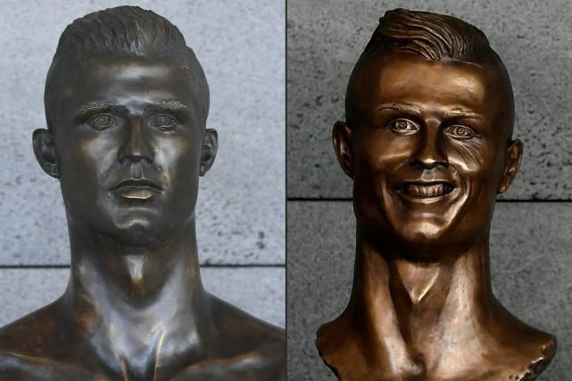 Le premier buste (à droite) avait été dévoilé... (Photos Francisco Leong et Helder Santos, archives Agence France-Presse)