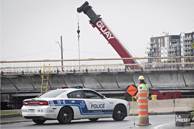 Le chantier du pont Champlain roulait au ralenti... (Patrick Sanfaçon, La Presse)