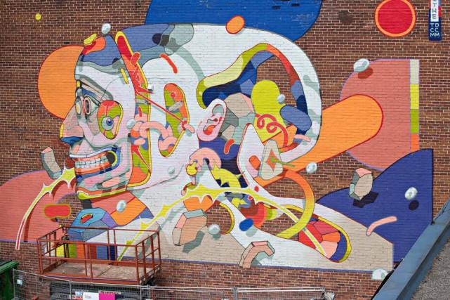 L'oeuvre murale est situéesur un mur de la... (Photo Patrick Sanfaçon, La Presse)