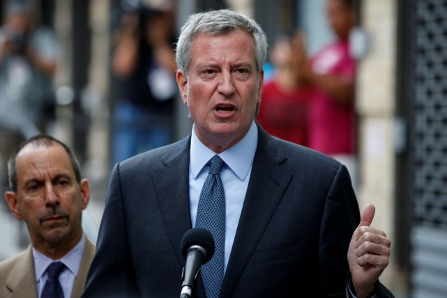 Le maire de New York Bill De Blasio.... (Photo Brendan McDermid, REUTERS)