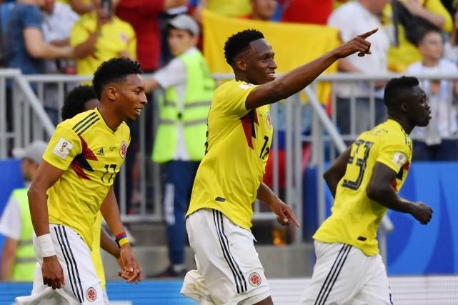 Yerry Mina (au centre) a marqué le but... (Photo Emmanuel Dunand, AFP)