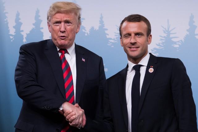 Donald Trump et Emmanuel Macron... (Photo Saul Loeb, Agence France-Presse)