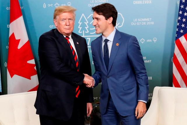 Donald Trump et Justin Trudeau lors du sommet... (Photo Leah Millis, archives Reuters)