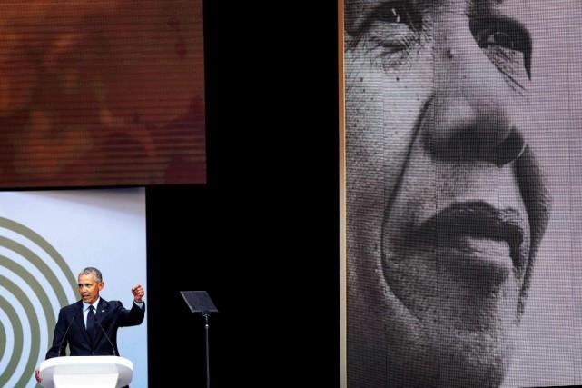 L'ancien président américain Barack Obama a donné un... (photoMARCO LONGARI, agence france-presse)