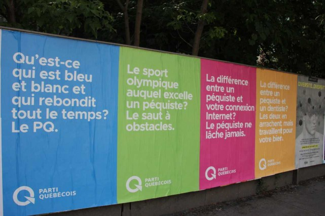 Des photos de quatre affiches différentes aperçues hier... (Photo courtoisie)