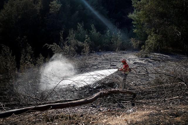 Un pompier arrose le sol le long d'une... (PHOTO PEDRO NUNES, REUTERS)