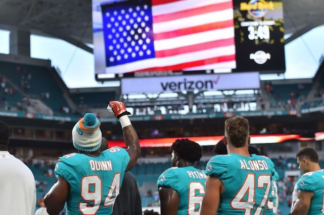 L'ailier défensif des Dolphins de Miami Robert Quinn... (Photo Jasen Vinlove, USA TODAY Sports)