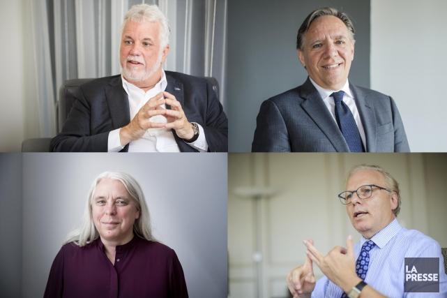 Les chefs des quatre principaux partis en lice.... (Photos La Presse)