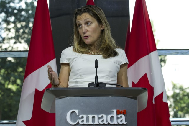 Chrystia Freeland lors de son point de presse.... (Photo Jose Luis Magana, AP)