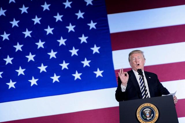 Donald Trump a prononcé un discours lors d'un... (PHOTO BRENDAN SMIALOWSKI, AGENCE FRANCE-PRESSE)