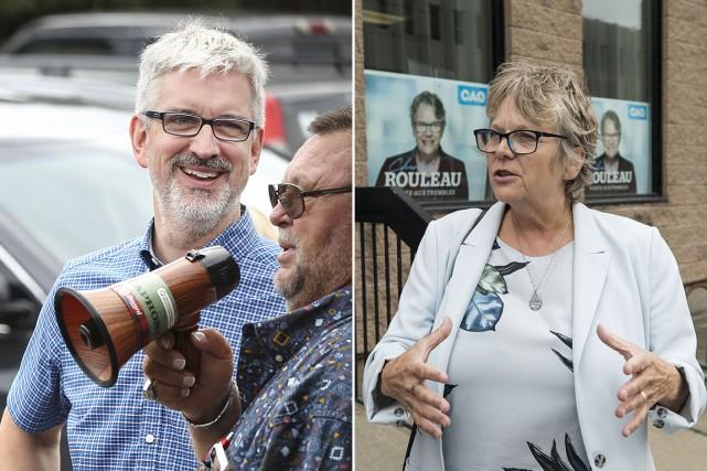 Les candidats Jean-Martin Aussant du PQ et Chantal...