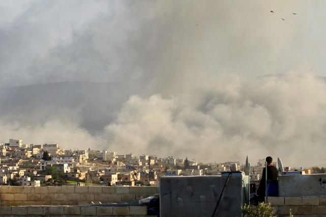 Située dans le nord-ouest syrien, à la frontière... (REUTERS)