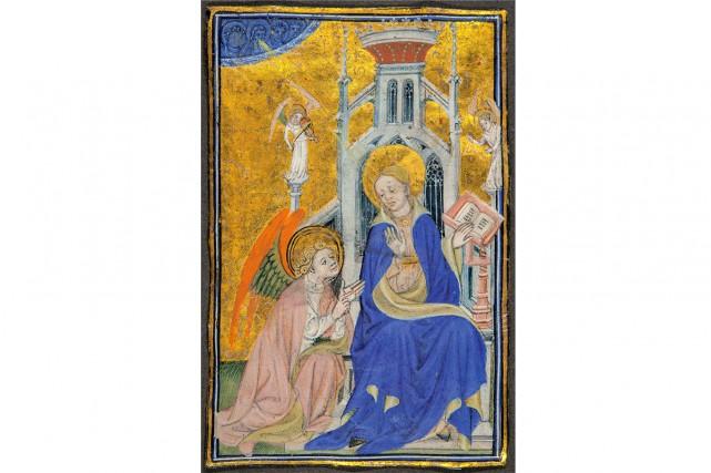 Maître de Troyes,L'Annonciation, miniature découpée des Heures Ranshaw,... (Photo Christine Guest, fournie par le MBAM)