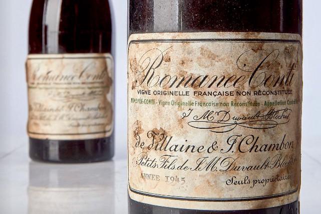 La bouteille de Romanée-Conti millésime 1945 a été... (IMAGE FOURNIE PAR SOTHEBY'S)