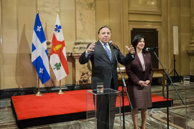 Le premier ministre François Legault et mairesse de... (Photo EDOUARD PLANTE-FRÉCHETTE, La Presse)